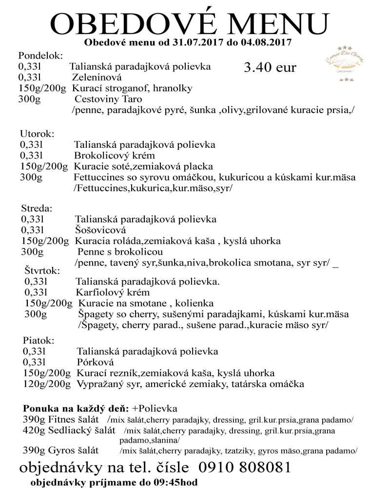6e0b869576 Obedové menu